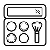 Yrkesmässiga makeupborstar för makeup vektor illustrationer