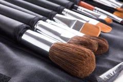 Yrkesmässiga makeupborstar i kompakt fall Royaltyfri Fotografi