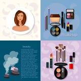 Yrkesmässiga produkter för makeup för skönhetmodebegrepp stock illustrationer