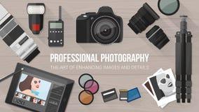 Yrkesmässigt fotografibaner royaltyfri illustrationer