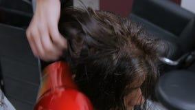 Yrkesmässigt hår för frisöruttorkningklient arkivfilmer
