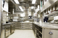 Yrkesmässigt kök, siktsräknare i stål royaltyfri bild