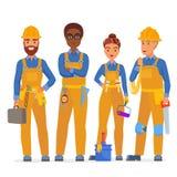 Yrkesmässigt lag för byggnadsarbetarespecialisttecken Vänliga arbetare i workwearuniiform som tillsammans står stock illustrationer