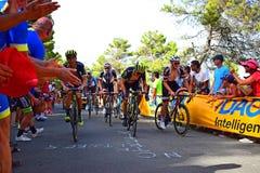 Yrkesmässigt lopp för cyklistLaVuelta España cirkulering arkivbild