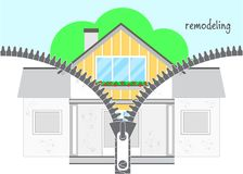 Yrkesmässigt omdana för hus Blixtlåset lossas, och ett renoverat hus är synligt Del två - omdana royaltyfri illustrationer
