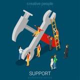 Yrkesmässigt supporttjänstskiftnyckel- och hummerbegrepp vektor illustrationer