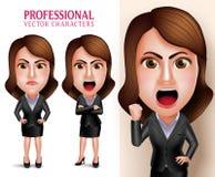 Yrkesmässigt tecken för vektor för affärskvinna som är ilsket och som är tokigt som ett framstickande royaltyfri illustrationer