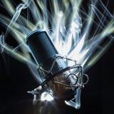 Yrkesmässig studiomikrofon Arkivfoton