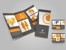 Yrkesmässig trifold broschyr-, katalog- och reklambladmall för bu Royaltyfri Fotografi