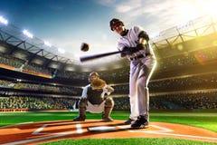 Yrkesmässiga basebollspelare på den storslagna arenan Arkivbild