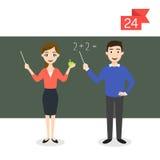 Yrketecken: man och kvinna lärare royaltyfri illustrationer
