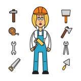 Yrkeuppsättning: byggmästarekvinna Vektor Illustrationer