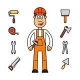 Yrkeuppsättning: byggmästarekvinna Stock Illustrationer