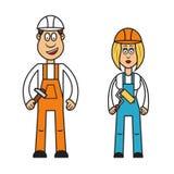 Yrkeuppsättning: byggmästarekvinna Royaltyfri Illustrationer