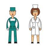 Yrkeuppsättning: kvinnlig doktor och kirurg Royaltyfri Illustrationer
