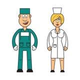 Yrkeuppsättning: kvinnlig doktors- och mankirurg Vektor Illustrationer