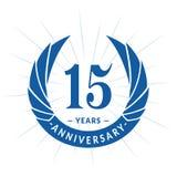 15 years anniversary design template. Elegant anniversary logo design. Fifteen years logo. 15 years anniversary celebration design template. 15 years stock illustration