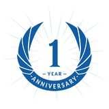 1 year anniversary design template. Elegant anniversary logo design. One year logo. 1 year anniversary celebration design template. One year celebrating vector stock illustration