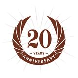 20 years anniversary design template. Elegant anniversary logo design. Twenty years logo. 20 years anniversary celebration design template. 20 years celebrating royalty free illustration