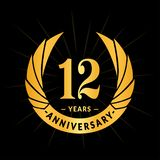 12 years anniversary design template. Elegant anniversary logo design. Twelve years logo. 12 years anniversary celebration design template. Twelve years stock illustration