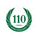 110 years anniversary design template. Elegant anniversary logo design. 110 years logo. 110 years anniversary celebration design template. 110 years celebrating royalty free illustration