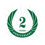 2 years anniversary design template. Elegant anniversary logo design. Two years logo. 2 years anniversary celebration design template. 2 years celebrating royalty free illustration
