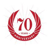 70 years anniversary design template. Elegant anniversary logo design. Seventy years logo. 70 years anniversary celebration design template. 70 years stock illustration