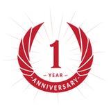 1 year anniversary design template. Elegant anniversary logo design. One year logo. 1 year anniversary celebration design template. One year celebrating vector royalty free illustration