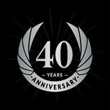 40 years anniversary design template. Elegant anniversary logo design. Forty years logo. 40 years anniversary celebration design template. 40 years celebrating royalty free illustration