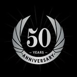 50 years anniversary design template. Elegant anniversary logo design. Fifty years logo. 50 years anniversary celebration design template. 50 years celebrating stock illustration