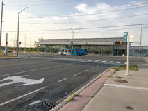 YRT/Viva Bus in front of YMCA. Viva bus stop and YRT bus, located in Markham near YMCA and GO station. YRT/Viva offers local and rapid transit services in all stock photo