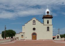 Ysleta Mission. Exterior and courtyard of the Ysleta Mission church on Zaragosa Road in El Paso, Texas Royalty Free Stock Photos