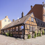 Ystad Corner House. Street scene from the Swedish town of Ystad Royalty Free Stock Photography