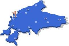ytbehandlar översikten för den isometriska sikten 3d av Estland med blått och städer Royaltyfri Bild