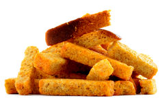 Żyto piec brown chleb, smażący crouton odizolowywający na białym tle Obrazy Royalty Free