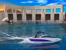 YtterlighetWakeboarder och speedboat - digitalt konstverk Royaltyfri Bild