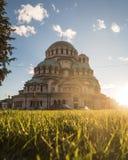 Yttersida av Alexander Nevsky Cathedral i Sofia royaltyfri fotografi