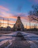 Yttersida av Alexander Nevsky Cathedral i Sofia royaltyfria bilder