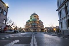 Yttersida av Alexander Nevsky Cathedral i Sofia arkivbilder