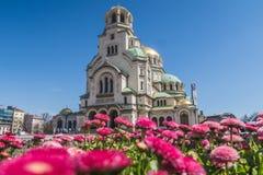 Yttersida av Alexander Nevsky Cathedral i Sofia royaltyfri foto