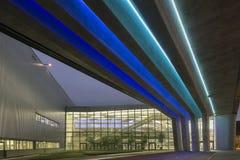 Yttersida av BMW Cenral byggnad på en ljus molnig dag Arkivfoto