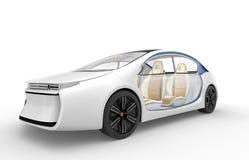 Yttersida av den autonoma elbilen på vit bakgrund royaltyfri illustrationer