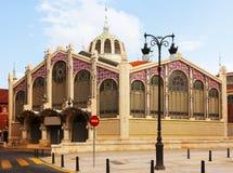 Yttersida av den Mercado centralen i Valencia fotografering för bildbyråer