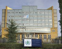 Yttersida av den speciala domstolen för Libanon i Leidschendam, Nen Arkivbilder
