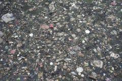 Yttersida av en förorenad flod i Jakarta, Indonesien fotografering för bildbyråer