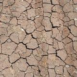 Yttersida av en grungy torr knäcka förtorkad jord arkivfoto