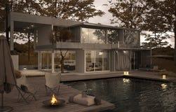 Yttersida av en minimalistic villa med pölen royaltyfri illustrationer