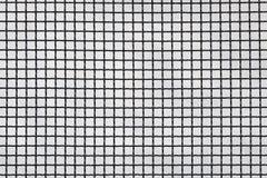 Yttersida av ett latticed metallstaket med fyrkantbest?ndsdelar framme av en v?gg som g?ras av tr?d arkivfoto
