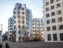 Yttersida av futuristiska byggande Neuer Zollhof Arkivbild