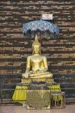 Yttersida av gulden målade Buddhastatyn i Wat Prasat i Chiang Mai, Thailand Arkivbilder